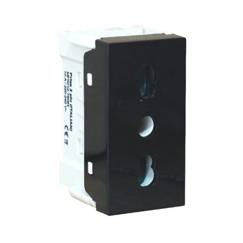 Priza modulara Still tip italian, 2 pini, negru - Comtec MF0012-16084