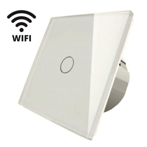 Intrerupator touch simplu WI-FI, alb