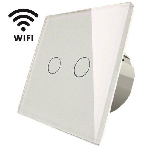 Intrerupator touch dublu WI-FI, alb