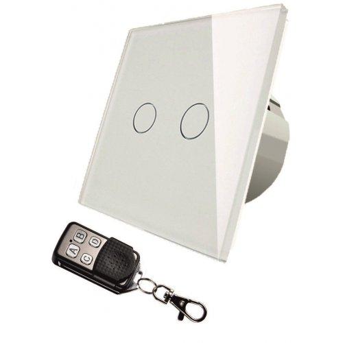 Intrerupator touch dublu + telecomanda RF, alb