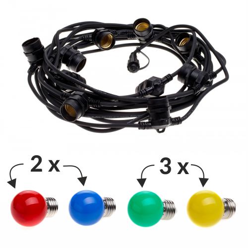 Pachet ghirlanda 10m, E27, IP65 + 10 becuri LED colorate