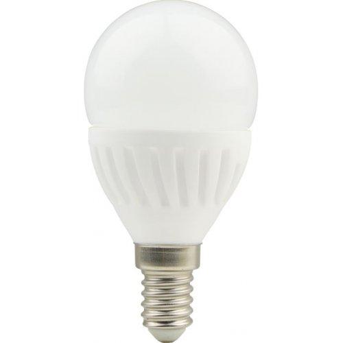Bec LED cu baza din ceramica, model G45, dulie E14, 9W=75W, 2700K, lumina calda