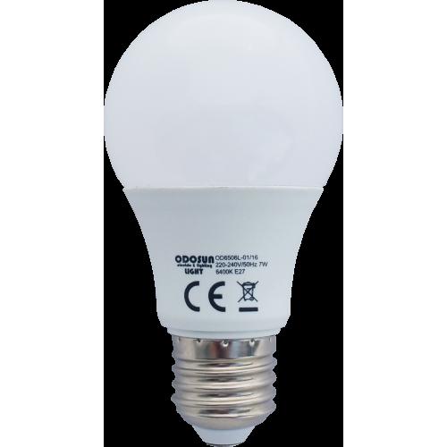 Bec Led E27, model glob A60, 7W=60W, lumina calda
